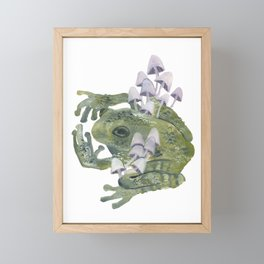 frog & mushrooms Framed Mini Art Print