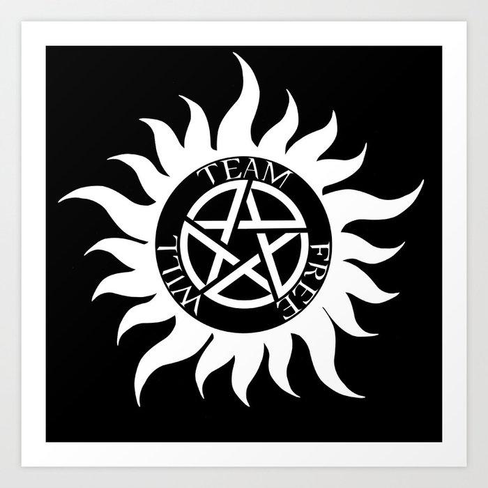 Team Free Will Anti Possession Symbol Supernatural White Art