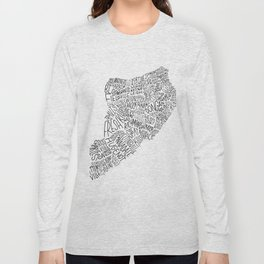 Staten Island - Hand Lettered Map Long Sleeve T-shirt