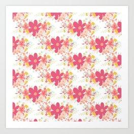 Botanical coral pink modern country floral Art Print