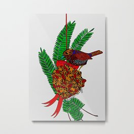 Little Bird In Evergreen Boughs Metal Print