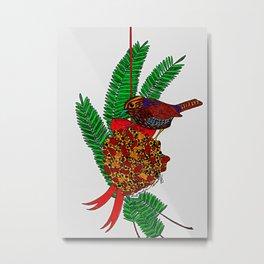 Little Bird In Evergreen Boughs Metal Print