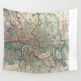 Vintage Map of London England (1852) Wall Tapestry