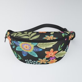 Dramatic floral design on black background. Colourful flowers, folk art inspired. Fanny Pack