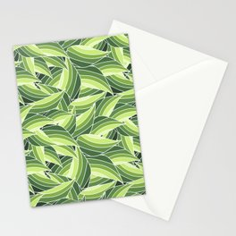 GREENERY LEAVES W  (abstract flowers nature) Stationery Cards