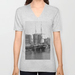 A US Frigate Ship in Baltimore, MD Unisex V-Neck