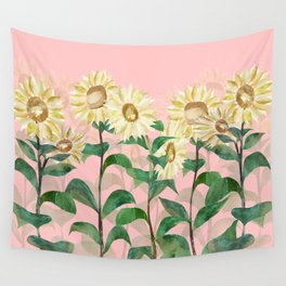 Sunflowers in Pink Wall Tapestry