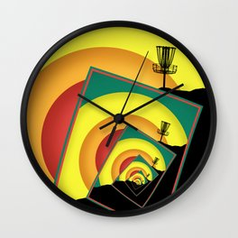 Spinning Disc Golf Baskets 3 Wall Clock