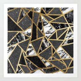 Modern Faux Gold Glitter Marble Geometric Triangle Art Print