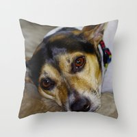 terrier Throw Pillows featuring Terrier by Rick Kirby