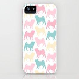 Pastel Pugs Pattern iPhone Case