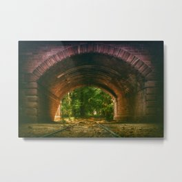 Railroad Track Through The Tunnel Metal Print