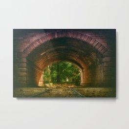 Railroad Track Through The Tunnel Metal Print