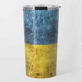 Vintage Aged and Scratched Ukrainian Flag Travel Mug