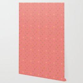 Elegant pink yellow gold gradient geometrical diamond pattern Wallpaper