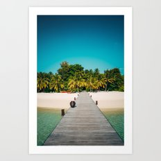 Welcome Pier in the Maldives Art Print