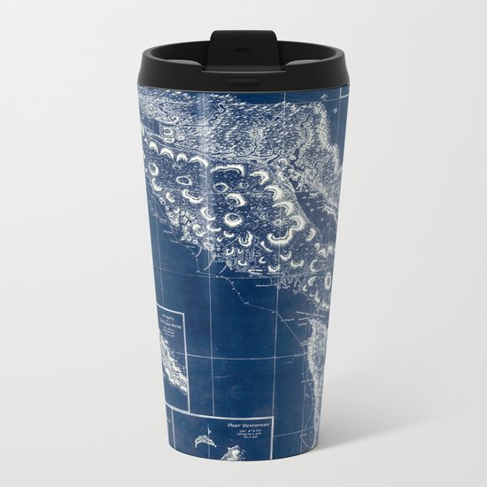 Vintage Blueprint of PNW Metal Travel Mug