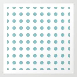 Chalky Blue Polka Dots Art Print