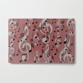 Music notes clef pattern red Metal Print