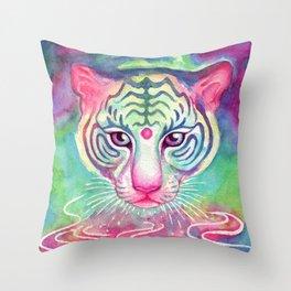 Rainbow Tigress Throw Pillow
