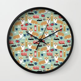 Welsh Corgi london england pattern cute corgis in britain dog breeds by pet friendly Wall Clock