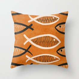 Fish Tales (Orange) Throw Pillow