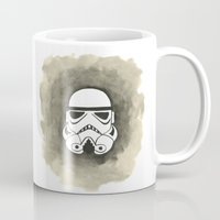 storm trooper Mugs featuring Storm Trooper Watercolor by Ozge Gul