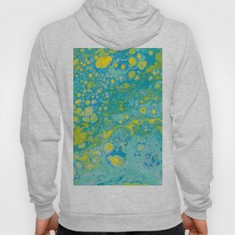 Fluid Art Acrylic Painting, Pour 35, Blue, Yellow & Green Blended Color Hoody