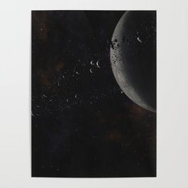 Planet with rocks and ice particles ring system orbiting Red Dwarf Star. Poster