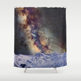 The star Antares, Scorpius and Sagitariuss over the hight mountains. The milky way. Shower Curtain