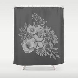 Grey Floral Design Shower Curtain