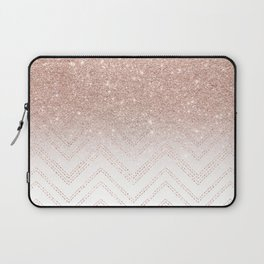 Modern faux rose gold glitter ombre modern chevron stitches pattern Laptop Sleeve
