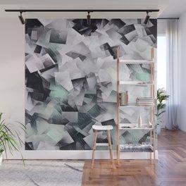 Geometric Stacks Mint Grays Wall Mural