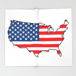 United States Map with American Flag Throw Blanket