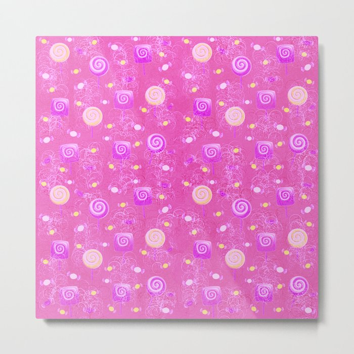 Lollipop And Candy Pink and Yellow Confection Metal Print