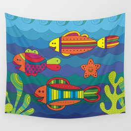 Stylize fantasy fishes under water. Wall Tapestry