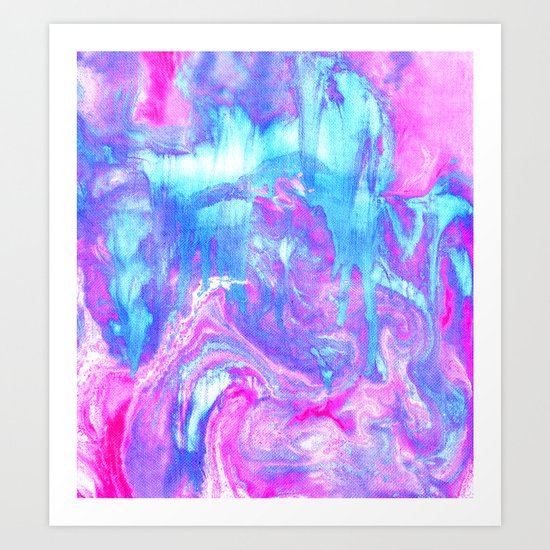 Melting Marble in Pink & Turquoise  Art Print