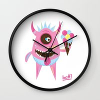 icecream Wall Clocks featuring Icecream by baffdesign