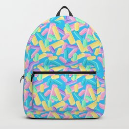 Pastel Jimmy Candy Pattern on Blue Backpack