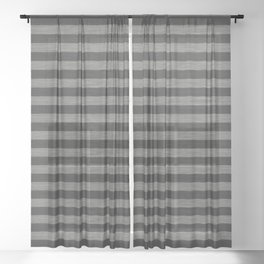 Gray Striped Knitted Weaving Sheer Curtain