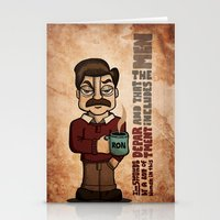 ron swanson Stationery Cards featuring Ron Swanson by maykel nunes