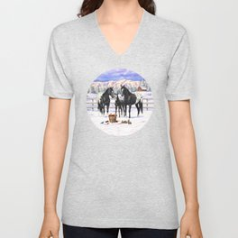 Black Appaloosa Horses In Winter Snow Unisex V-Neck