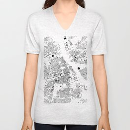 Warszawa Map Schwarzplan Only Buildings Unisex V-Neck