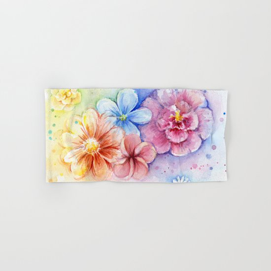 Flowers Watercolor Floral Colorful Rainbow Painting Hand & Bath Towel