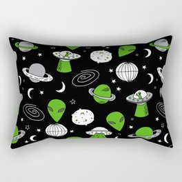 Alien outer space cute aliens french fries rad sodas pattern print black Rectangular Pillow