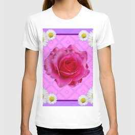 Lilac Color Shasta Daisies & Fuchsia Pink Rose Pattern T-shirt