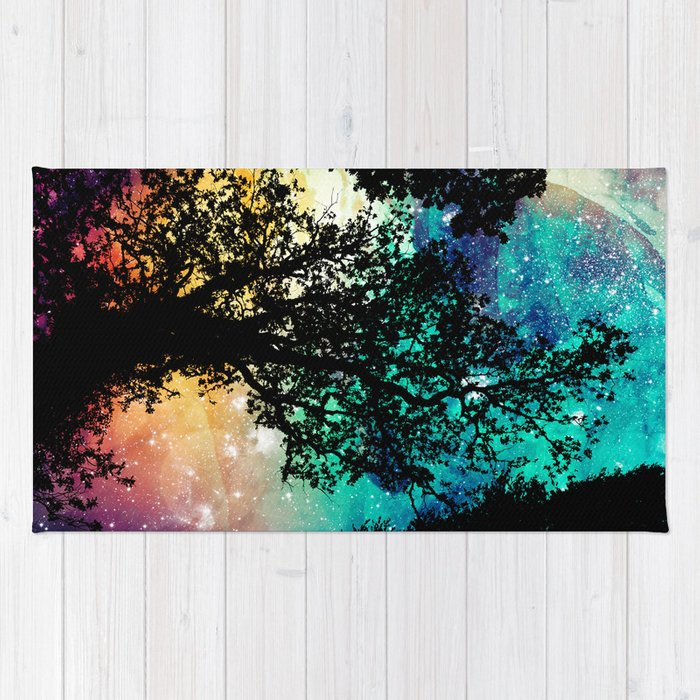 Black Trees Colorful Space Rug
