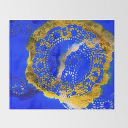 Royal Blue and Gold Abstract Lace Design Throw Blanket