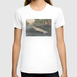 Vintage River Fishing Illustration (1874) T-shirt
