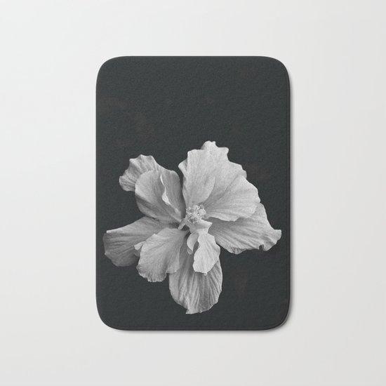 Hibiscus Drama - Black and Grey Bath Mat